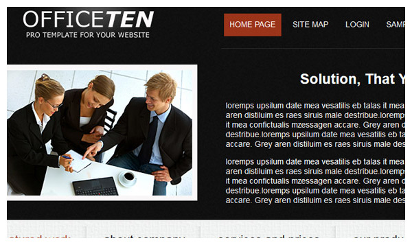 officeten black joomla template